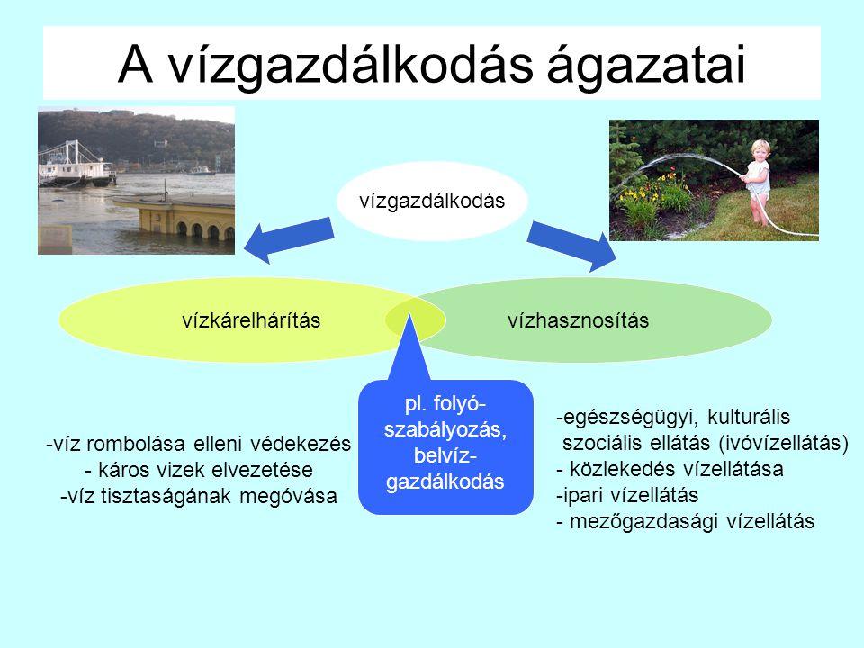 vízhasznosítás A vízgazdálkodás ágazatai vízgazdálkodás vízkárelhárítás -víz rombolása elleni védekezés - káros vizek elvezetése -víz tisztaságának megóvása -egészségügyi, kulturális szociális ellátás (ivóvízellátás) - közlekedés vízellátása -ipari vízellátás - mezőgazdasági vízellátás pl.