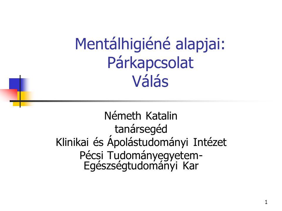 1 Mentálhigiéné alapjai: Párkapcsolat Válás Németh Katalin tanársegéd Klinikai és Ápolástudományi Intézet Pécsi Tudományegyetem- Egészségtudományi Kar