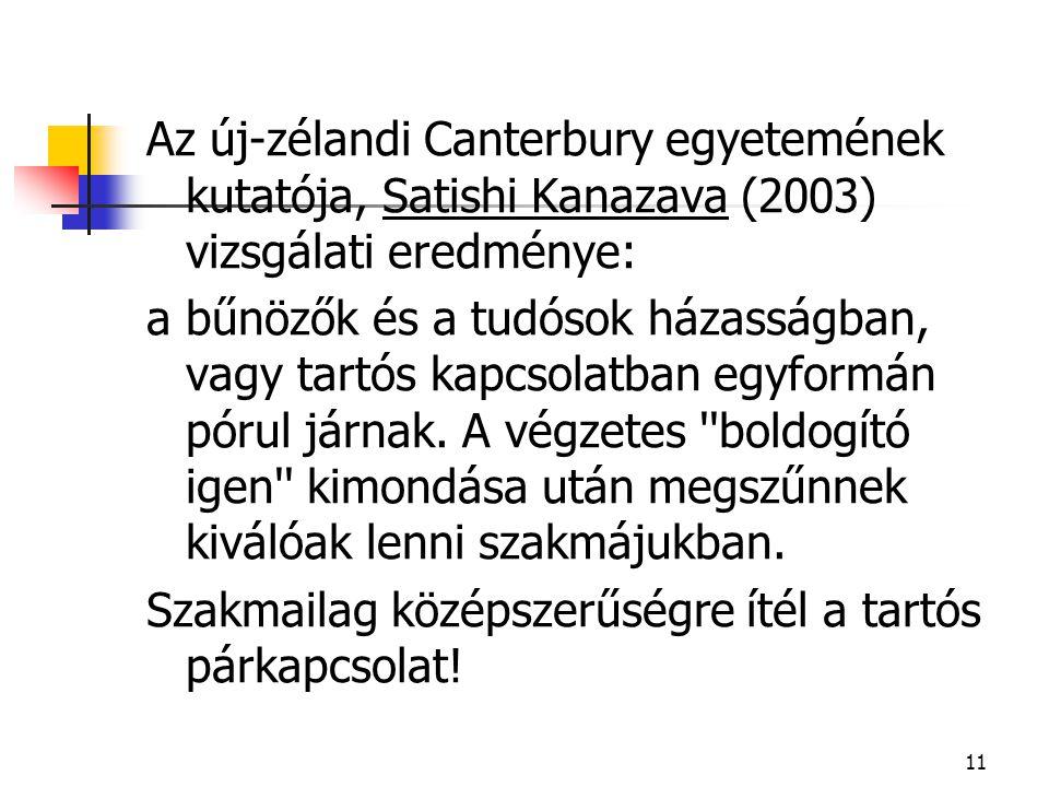 11 Az új-zélandi Canterbury egyetemének kutatója, Satishi Kanazava (2003) vizsgálati eredménye: a bűnözők és a tudósok házasságban, vagy tartós kapcso