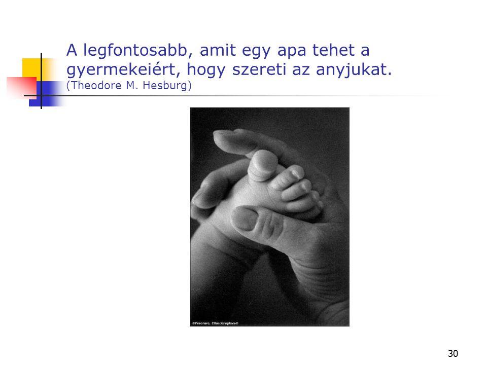 30 A legfontosabb, amit egy apa tehet a gyermekeiért, hogy szereti az anyjukat. (Theodore M. Hesburg)