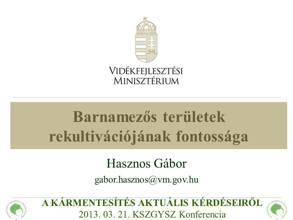 Barnamezős területek rekultivációjának fontossága Hasznos Gábor gabor.hasznos@vm.gov.hu A KÁRMENTESÍTÉS AKTUÁLIS KÉRDÉSEIRŐL 2013. 03. 21. KSZGYSZ Kon