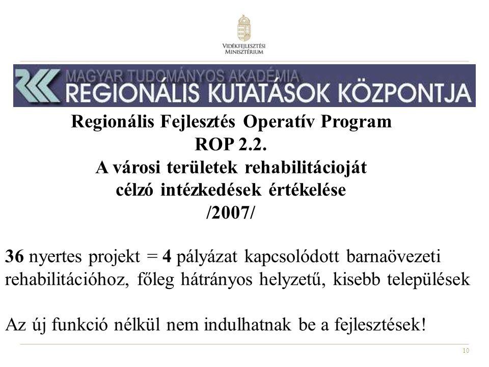 10 Regionális Fejlesztés Operatív Program ROP 2.2. A városi területek rehabilitácioját célzó intézkedések értékelése /2007/ 36 nyertes projekt = 4 pál