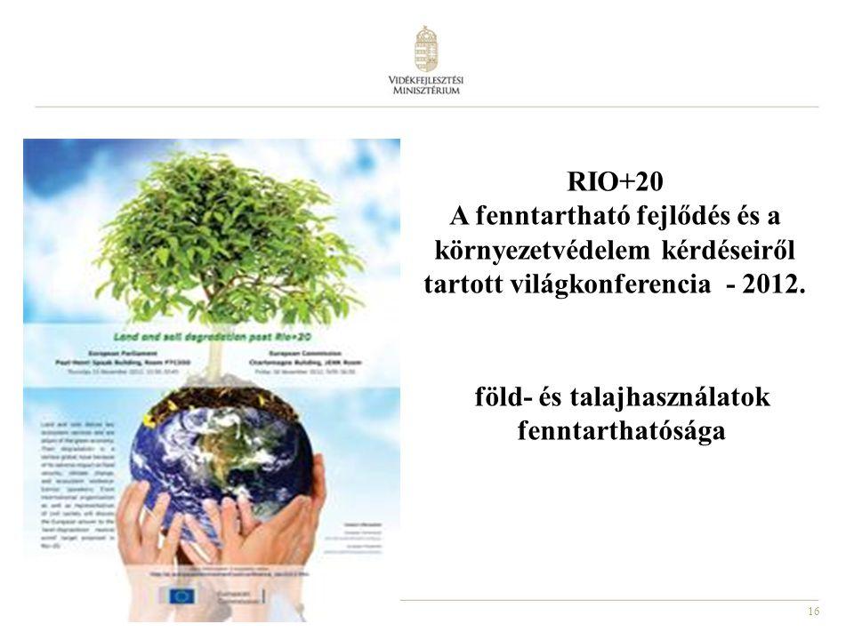 16 RIO+20 A fenntartható fejlődés és a környezetvédelem kérdéseiről tartott világkonferencia - 2012. föld- és talajhasználatok fenntarthatósága