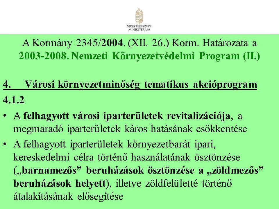 7 A Kormány 2345/2004. (XII. 26.) Korm. Határozata a 2003-2008. Nemzeti Környezetvédelmi Program (II.) 4. Városi környezetminőség tematikus akcióprogr
