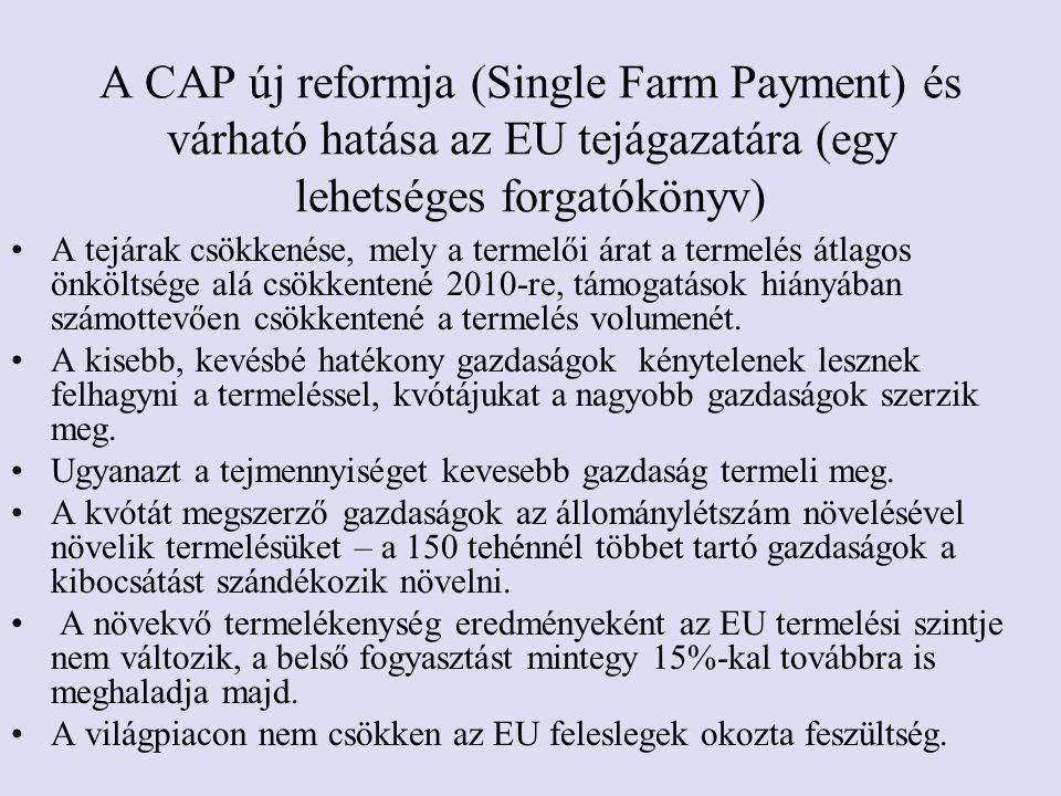 A CAP új reformja (Single Farm Payment) és várható hatása az EU tejágazatára (egy lehetséges forgatókönyv) •A tejárak csökkenése, mely a termelői árat a termelés átlagos önköltsége alá csökkentené 2010-re, támogatások hiányában számottevően csökkentené a termelés volumenét.