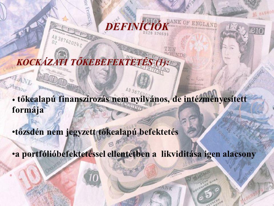 DEFINÍCIÓK KOCKÁZATI TŐKEBEFEKTETÉS (1): • tőkealapú finanszírozás nem nyilvános, de intézményesített formája •tőzsdén nem jegyzett tőkealapú befektet