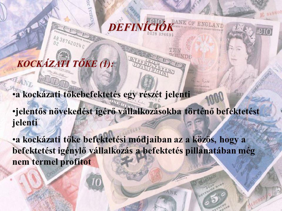 """DEFINÍCIÓK KOCKÁZATI TŐKE (2): A kockázati tőkebefektetéseknek több típusát különböztetjük meg, ezek a következők: •fejlesztési tőke – """"development capital •indulás finanszírozása – """"start up finanszírozás •üzleti angyalok – """"angel visitors •alapok, nagybefektetők – """"early stage alapok"""