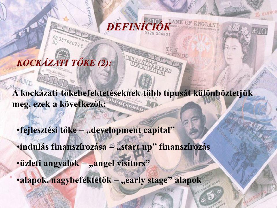 """DEFINÍCIÓK KOCKÁZATI TŐKE (2): A kockázati tőkebefektetéseknek több típusát különböztetjük meg, ezek a következők: •fejlesztési tőke – """"development ca"""