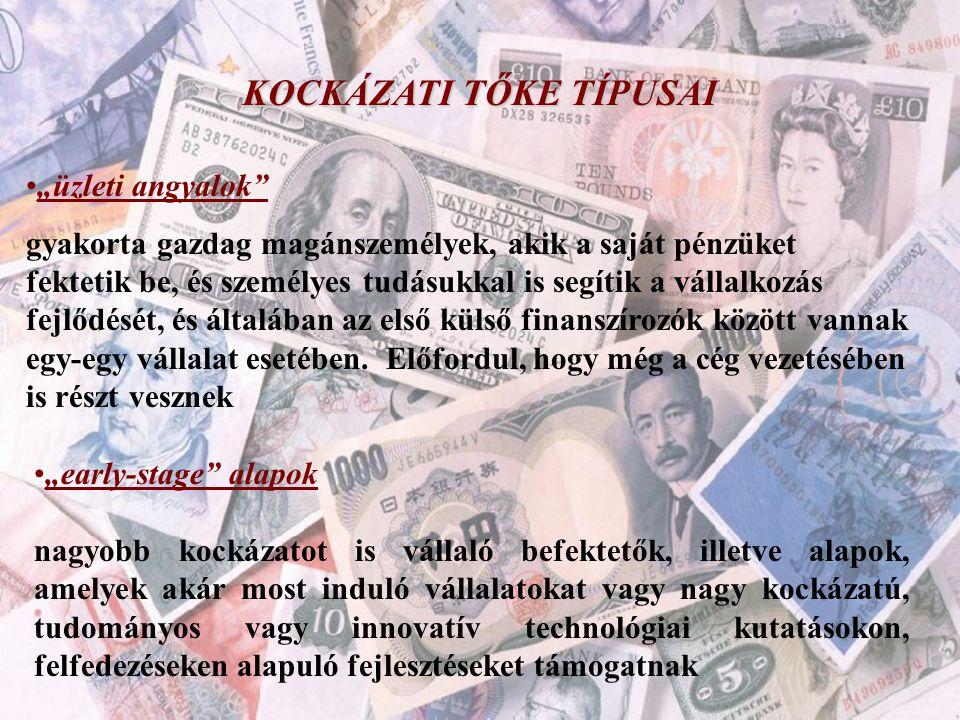 """KOCKÁZATI TŐKE TÍPUSAI •""""üzleti angyalok"""" gyakorta gazdag magánszemélyek, akik a saját pénzüket fektetik be, és személyes tudásukkal is segítik a váll"""