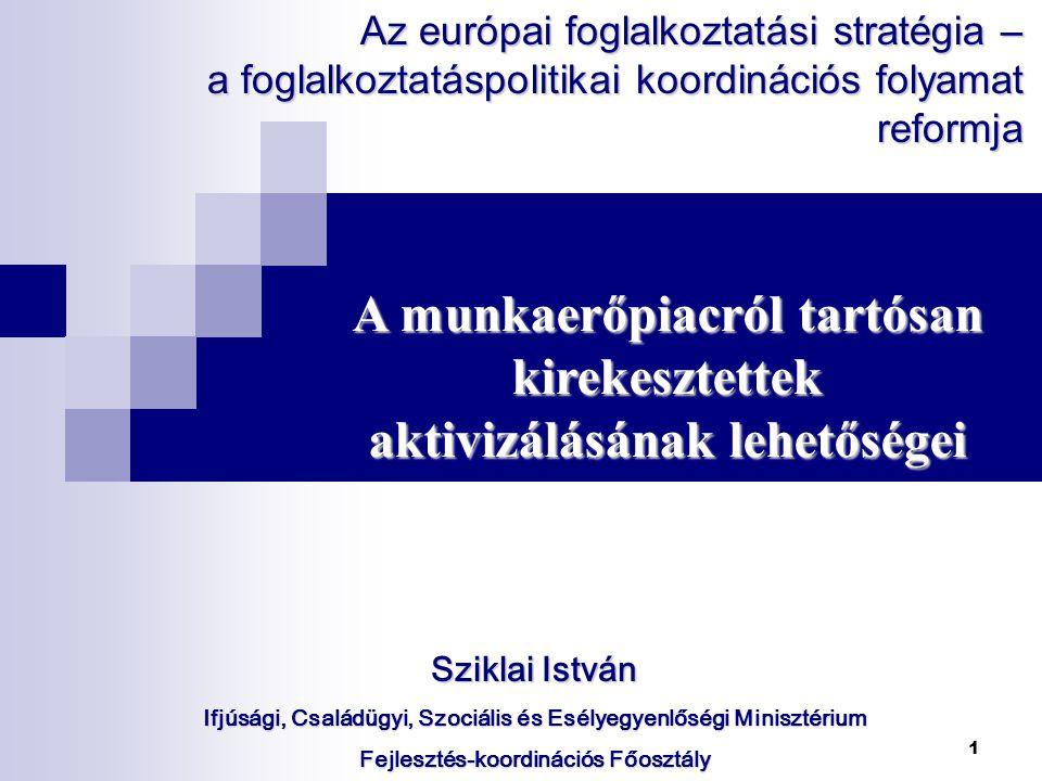 1 Sziklai István Ifjúsági, Családügyi, Szociális és Esélyegyenlőségi Minisztérium Fejlesztés-koordinációs Főosztály A munkaerőpiacról tartósan kirekesztettek aktivizálásának lehetőségei Az európai foglalkoztatási stratégia – a foglalkoztatáspolitikai koordinációs folyamat reformja