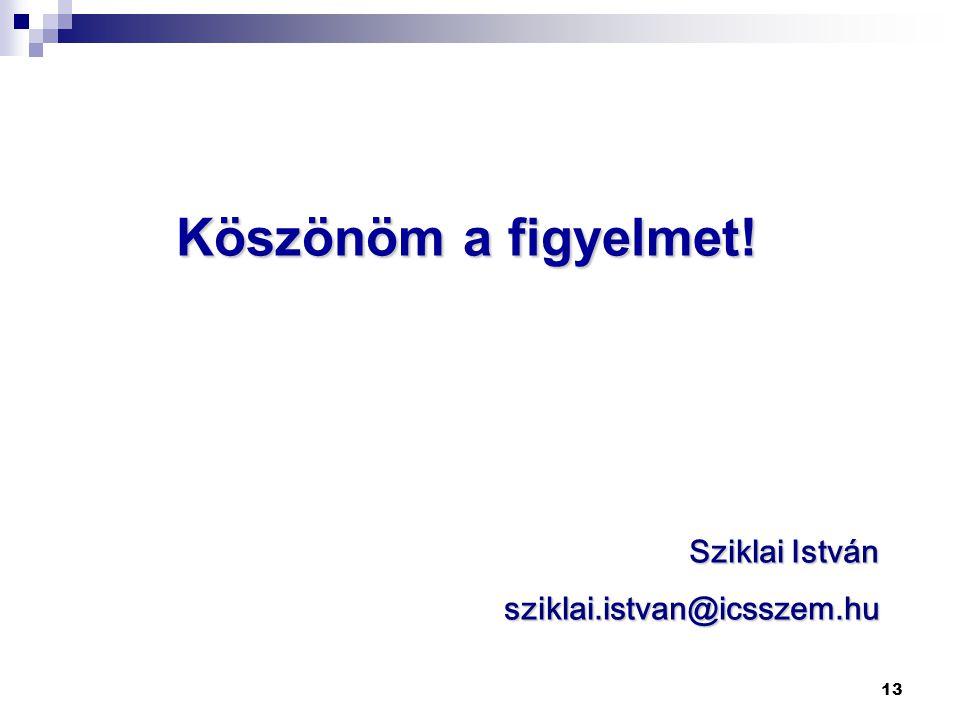 13 Köszönöm a figyelmet! Sziklai István sziklai.istvan@icsszem.hu
