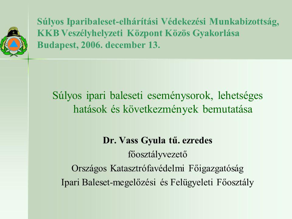 Súlyos Iparibaleset-elhárítási Védekezési Munkabizottság, KKB Veszélyhelyzeti Központ Közös Gyakorlása Budapest, 2006. december 13. Súlyos ipari bales