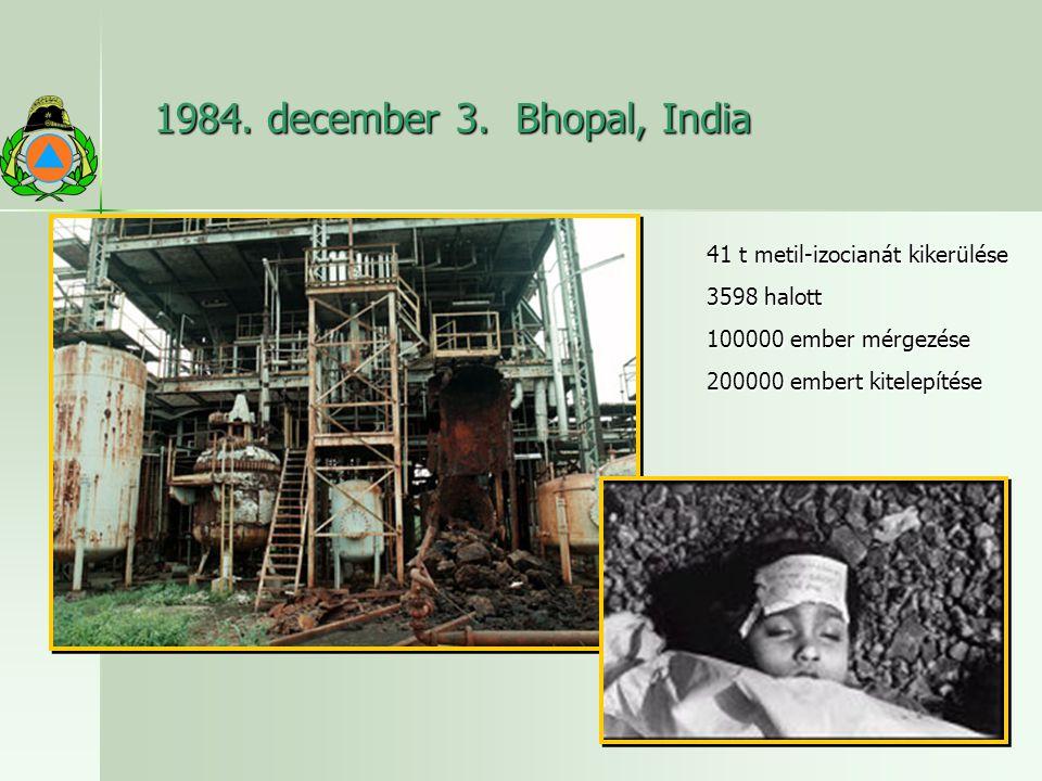1984. december 3. Bhopal, India 41 t metil-izocianát kikerülése 3598 halott 100000 ember mérgezése 200000 embert kitelepítése