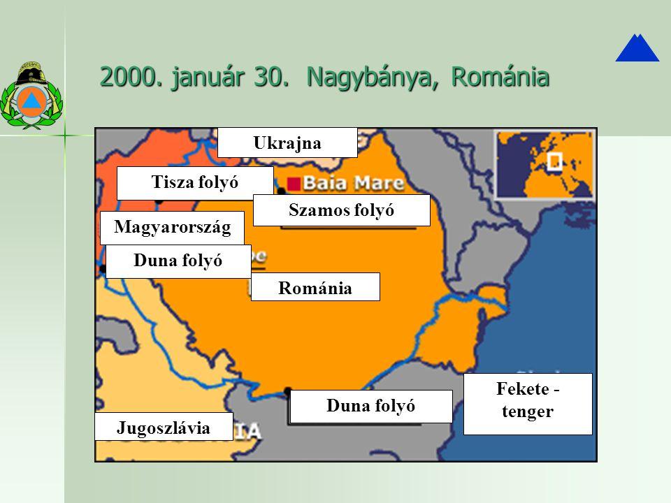 2000. január 30. Nagybánya, Románia Ukrajna Tisza folyó Szamos folyó Magyarország Duna folyó Románia Jugoszlávia Duna folyó Fekete - tenger
