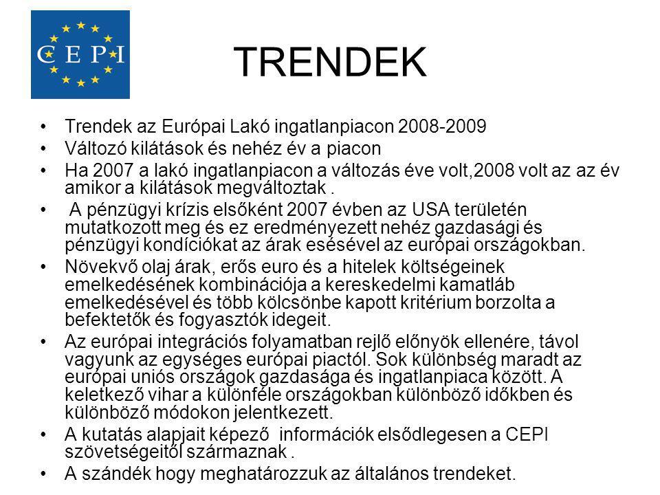 TRENDEK •Trendek az Európai Lakó ingatlanpiacon 2008-2009 •Változó kilátások és nehéz év a piacon •Ha 2007 a lakó ingatlanpiacon a változás éve volt,2