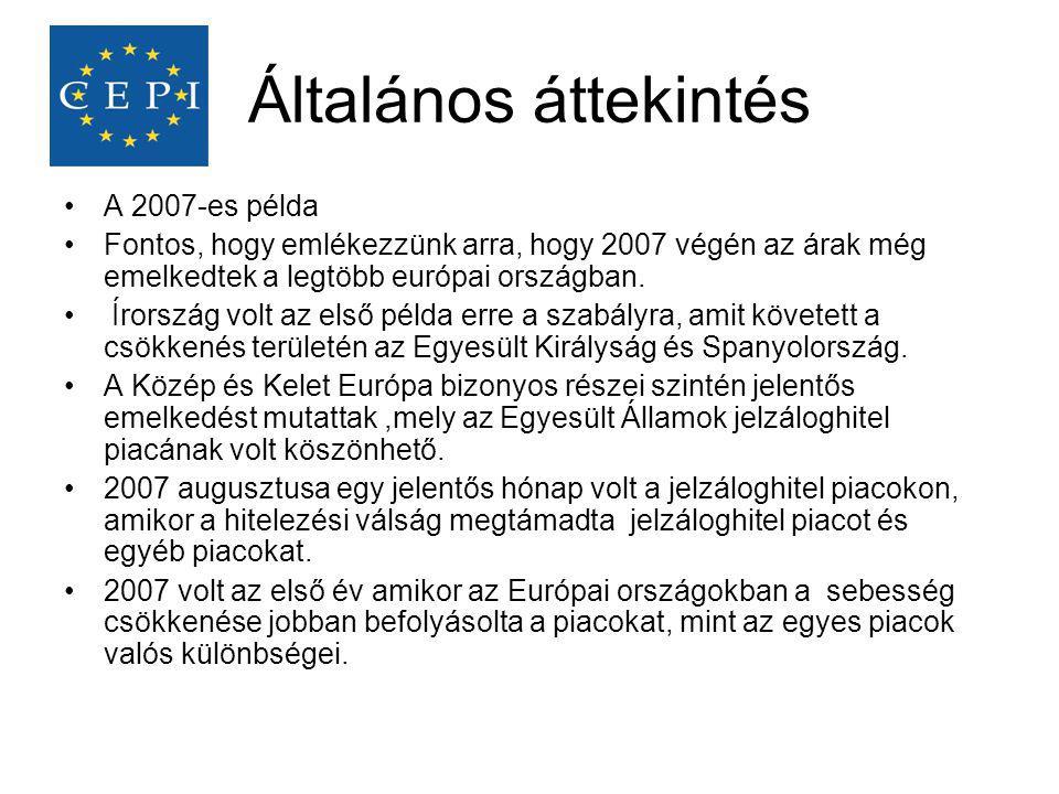 Általános áttekintés •A 2007-es példa •Fontos, hogy emlékezzünk arra, hogy 2007 végén az árak még emelkedtek a legtöbb európai országban. • Írország v