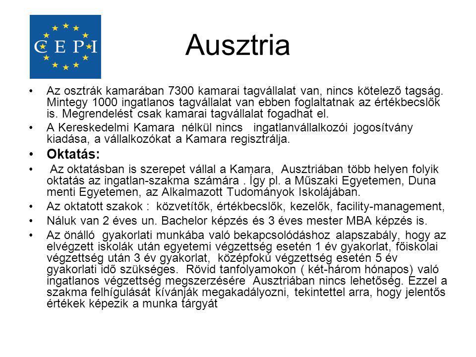 Ausztria •Az osztrák kamarában 7300 kamarai tagvállalat van, nincs kötelező tagság. Mintegy 1000 ingatlanos tagvállalat van ebben foglaltatnak az érté