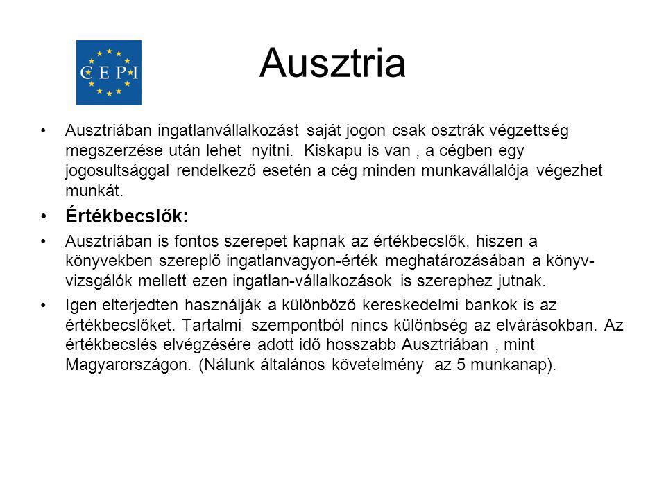 •Ausztriában ingatlanvállalkozást saját jogon csak osztrák végzettség megszerzése után lehet nyitni. Kiskapu is van, a cégben egy jogosultsággal rende