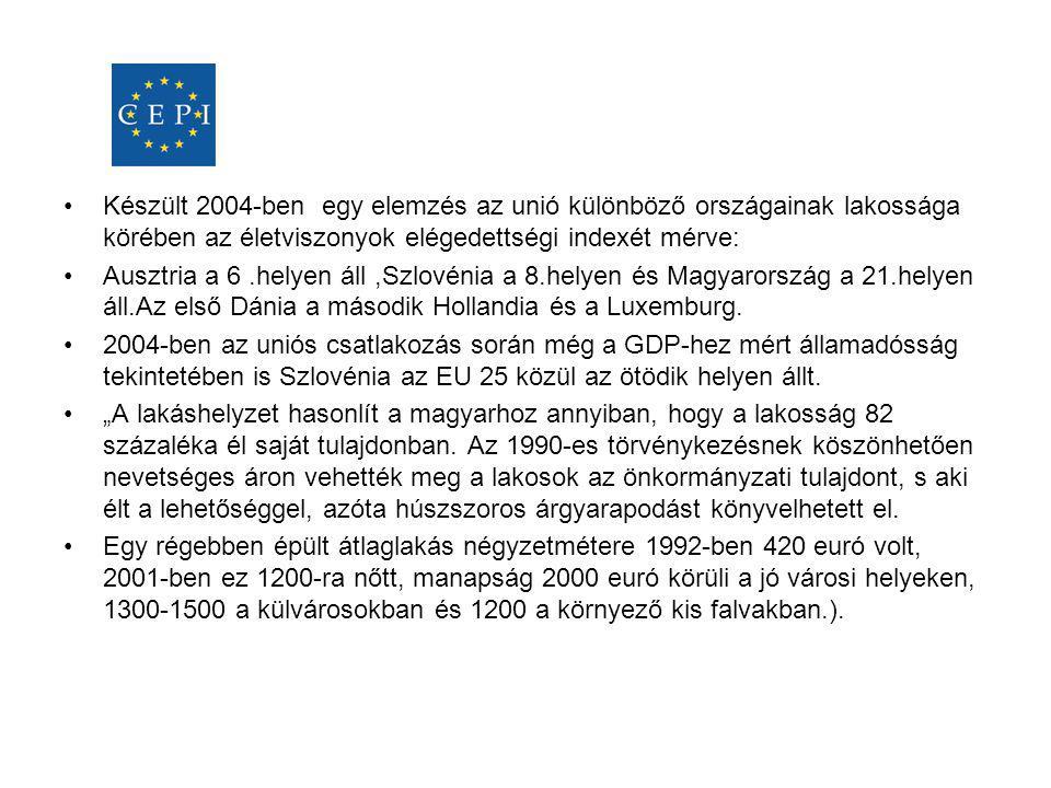 •Készült 2004-ben egy elemzés az unió különböző országainak lakossága körében az életviszonyok elégedettségi indexét mérve: •Ausztria a 6.helyen áll,S