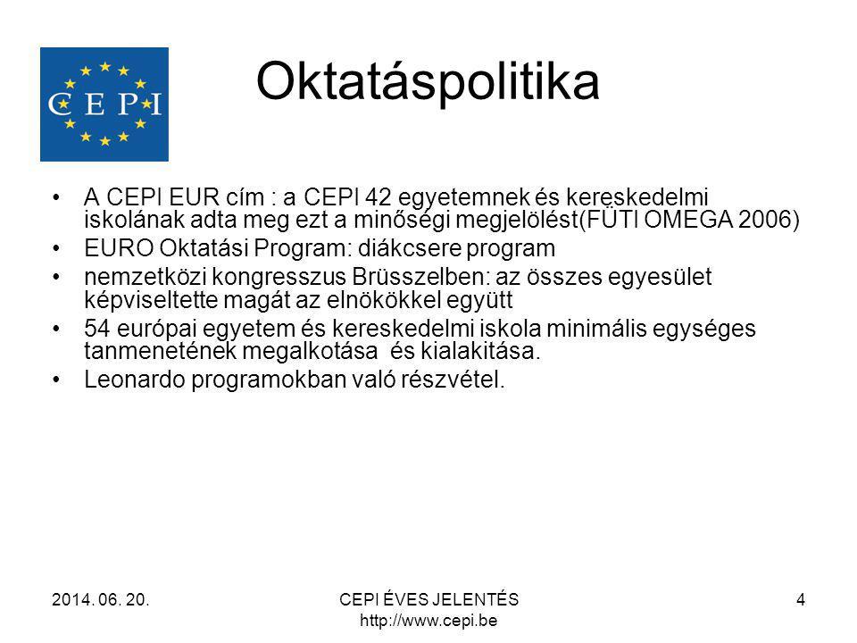 Oktatáspolitika •A CEPI EUR cím : a CEPI 42 egyetemnek és kereskedelmi iskolának adta meg ezt a minőségi megjelölést(FÜTI OMEGA 2006) •EURO Oktatási P