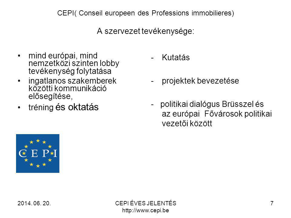 CEPI( Conseil europeen des Professions immobilieres) A szervezet tevékenysége: •mind európai, mind nemzetközi szinten lobby tevékenység folytatása •in