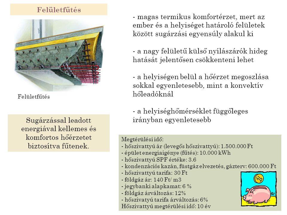 Felületfűtés Megtérülési idő: - hőszivattyú ár (levegős hőszivattyú): 1.500.000 Ft - épület energiaigénye (fűtés): 10.000 kWh - hőszivattyú SPF értéke