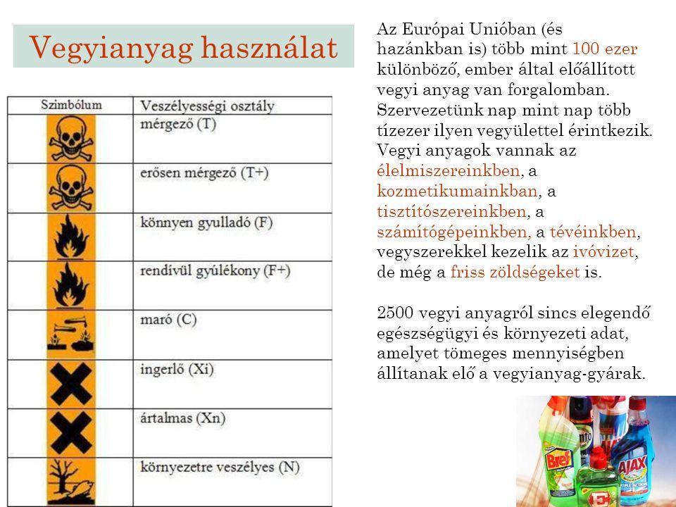 Vegyianyag használat Az Európai Unióban (és hazánkban is) több mint 100 ezer különböző, ember által előállított vegyi anyag van forgalomban. Szervezet