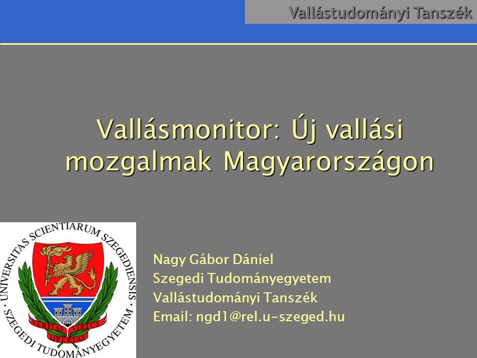 Vallástudományi Tanszék Vallási helyzet Magyarországon
