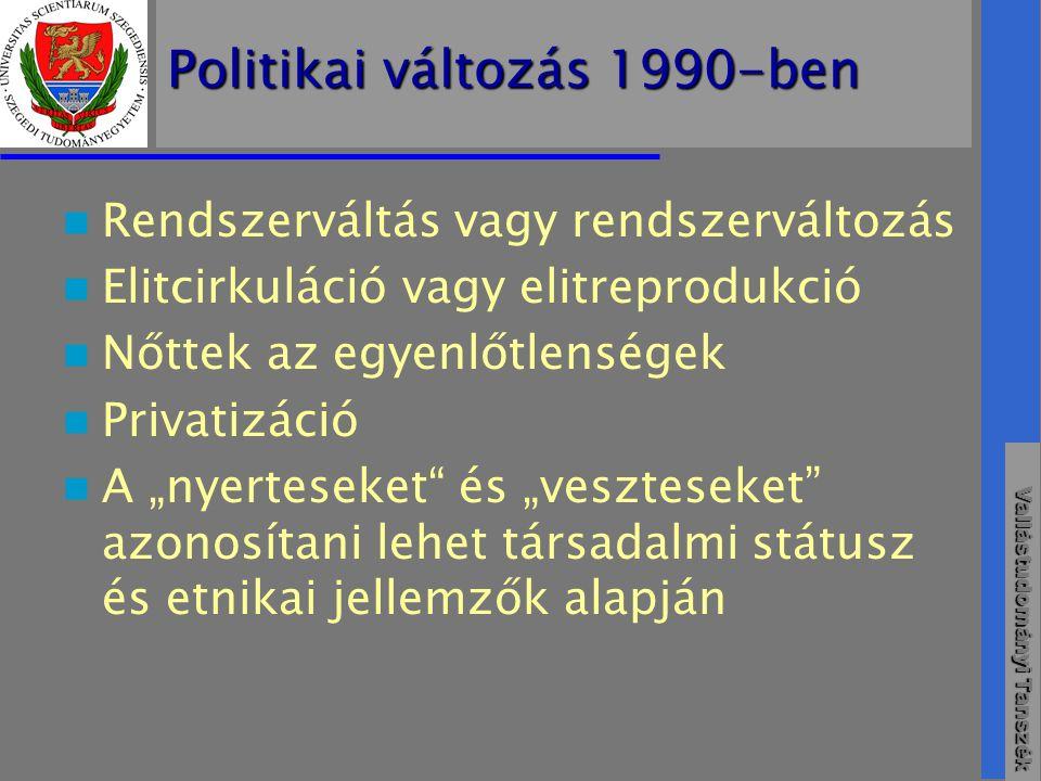 """Vallástudományi Tanszék Politikai változás 1990-ben  Rendszerváltás vagy rendszerváltozás  Elitcirkuláció vagy elitreprodukció  Nőttek az egyenlőtlenségek  Privatizáció  A """"nyerteseket és """"veszteseket azonosítani lehet társadalmi státusz és etnikai jellemzők alapján"""