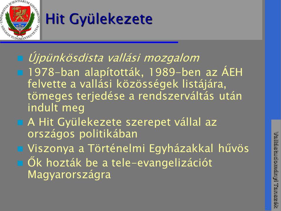 Vallástudományi Tanszék Hit Gyülekezete  Újpünkösdista vallási mozgalom  1978-ban alapították, 1989-ben az ÁEH felvette a vallási közösségek listájára, tömeges terjedése a rendszerváltás után indult meg  A Hit Gyülekezete szerepet vállal az országos politikában  Viszonya a Történelmi Egyházakkal hűvös  Ők hozták be a tele-evangelizációt Magyarországra