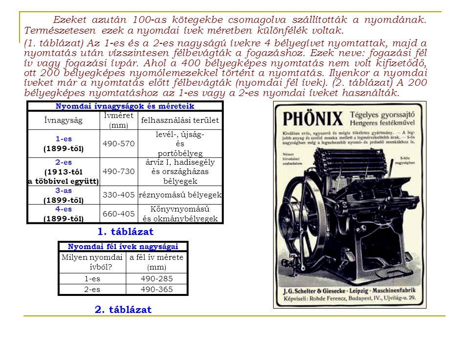 Nyomdai ívnagyságok és méreteik Ívnagyság Ívméret (mm) felhasználási terület 1-es (1899-től) 490-570 levél-, újság- és portóbélyeg 2-es (1913-tól a többivel együtt) 490-730 árvíz I, hadisegély és országházas bélyegek 3-as (1899-től) 330-405réznyomású bélyegek 4-es (1899-től) 660-405 Könyvnyomású és okmánybélyegek Ezeket azután 100-as kötegekbe csomagolva szállították a nyomdának.