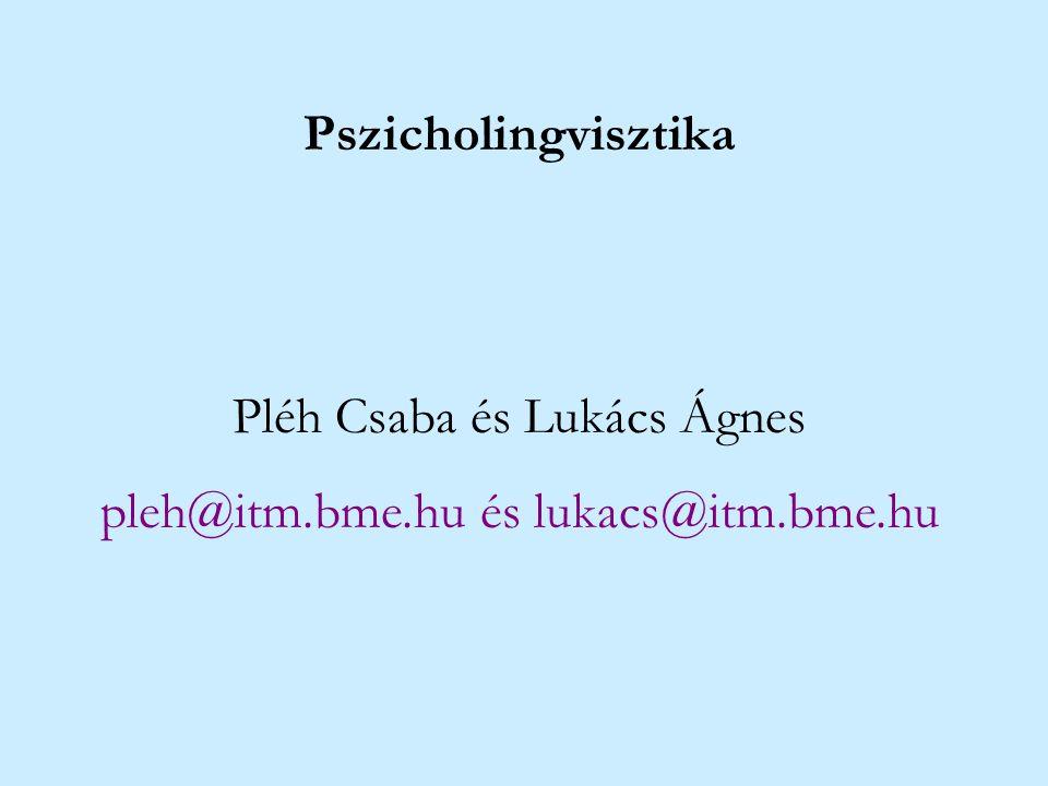 Pszicholingvisztika Pléh Csaba és Lukács Ágnes pleh@itm.bme.hu és lukacs@itm.bme.hu