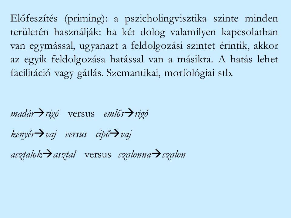 Előfeszítés (priming): a pszicholingvisztika szinte minden területén használják: ha két dolog valamilyen kapcsolatban van egymással, ugyanazt a feldol