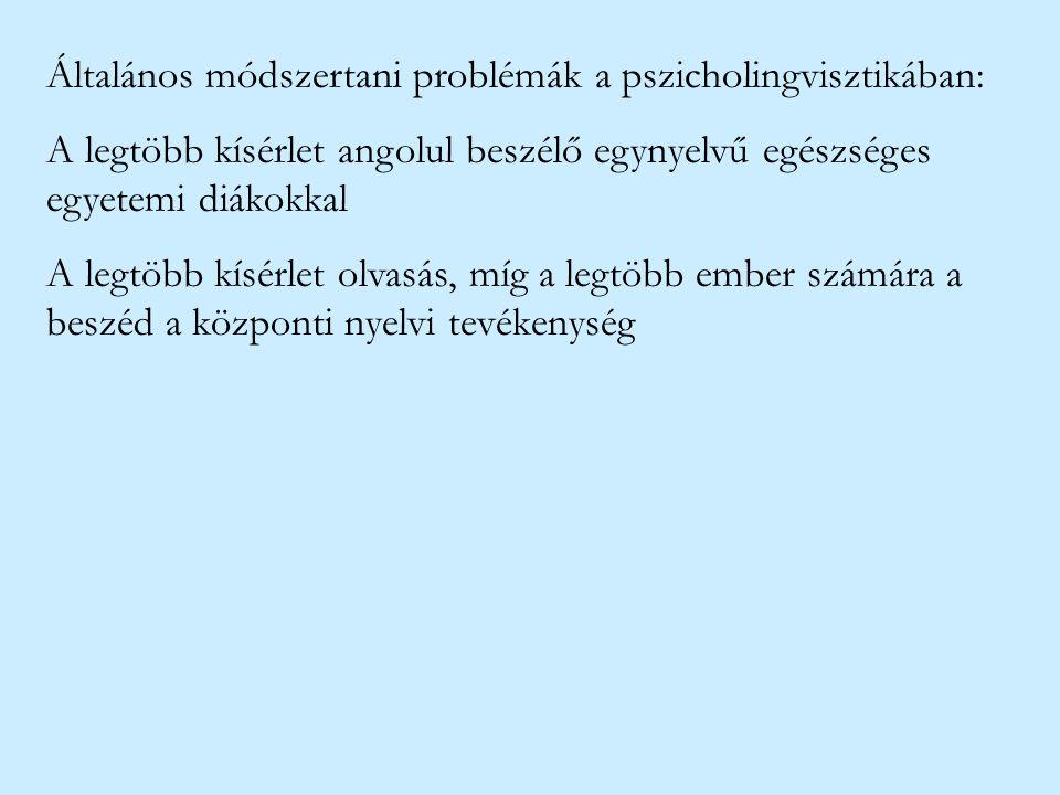 Általános módszertani problémák a pszicholingvisztikában: A legtöbb kísérlet angolul beszélő egynyelvű egészséges egyetemi diákokkal A legtöbb kísérle