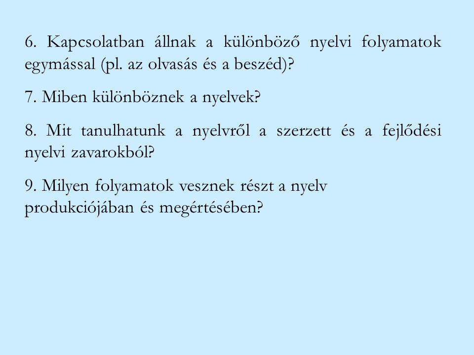 6. Kapcsolatban állnak a különböző nyelvi folyamatok egymással (pl. az olvasás és a beszéd)? 7. Miben különböznek a nyelvek? 8. Mit tanulhatunk a nyel
