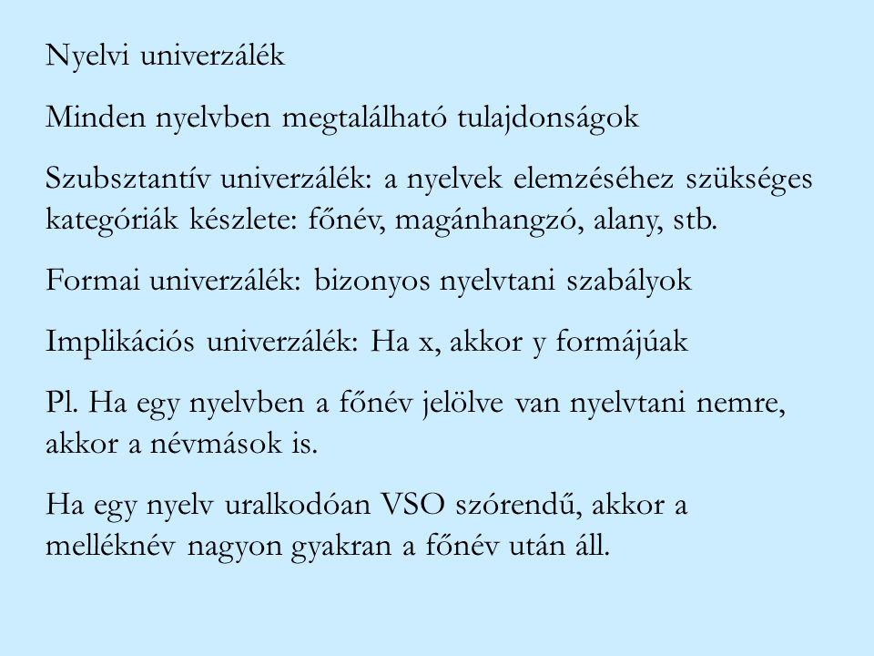 Nyelvi univerzálék Minden nyelvben megtalálható tulajdonságok Szubsztantív univerzálék: a nyelvek elemzéséhez szükséges kategóriák készlete: főnév, ma
