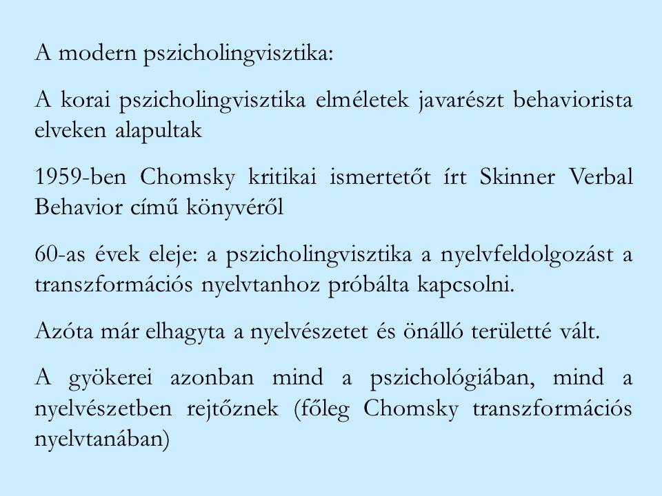 A modern pszicholingvisztika: A korai pszicholingvisztika elméletek javarészt behaviorista elveken alapultak 1959-ben Chomsky kritikai ismertetőt írt