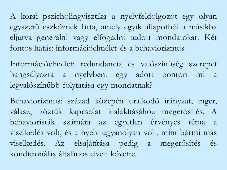 A korai pszicholingvisztika a nyelvfeldolgozót egy olyan egyszerű eszköznek látta, amely egyik állapotból a másikba eljutva generálni vagy elfogadni t