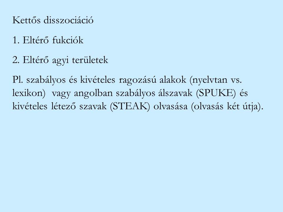Kettős disszociáció 1. Eltérő fukciók 2. Eltérő agyi területek Pl. szabályos és kivételes ragozású alakok (nyelvtan vs. lexikon) vagy angolban szabály