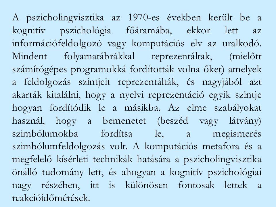 A pszicholingvisztika az 1970-es években került be a kognitív pszichológia főáramába, ekkor lett az információfeldolgozó vagy komputációs elv az uralk