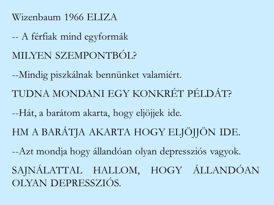 Wizenbaum 1966 ELIZA -- A férfiak mind egyformák MILYEN SZEMPONTBÓL? --Mindig piszkálnak bennünket valamiért. TUDNA MONDANI EGY KONKRÉT PÉLDÁT? --Hát,
