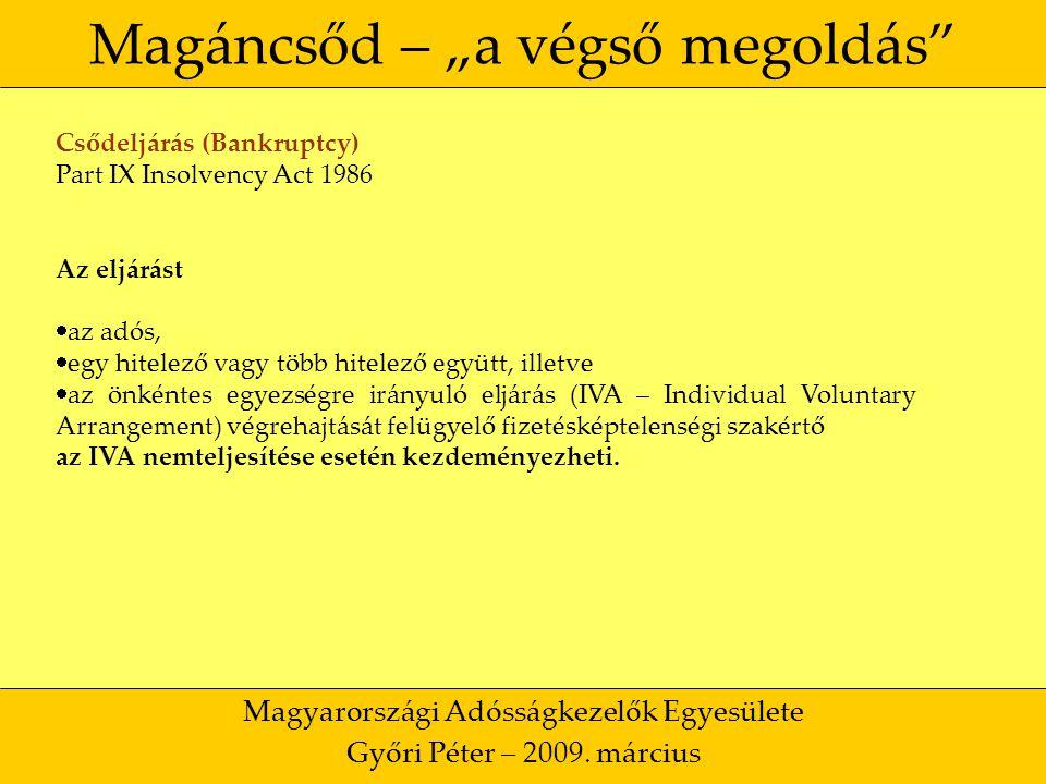 """11 Magáncsőd – """"a végső megoldás Magyarországi Adósságkezelők Egyesülete Győri Péter – 2009."""