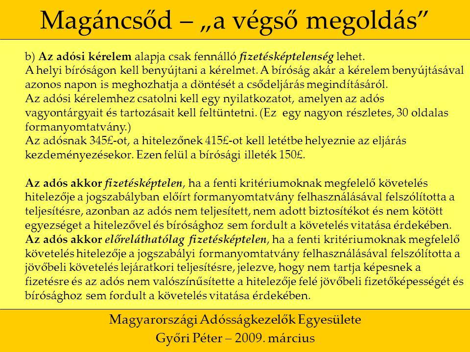 """13 Magáncsőd – """"a végső megoldás Magyarországi Adósságkezelők Egyesülete Győri Péter – 2009."""