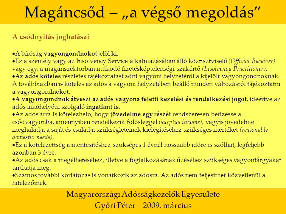 """15 Magáncsőd – """"a végső megoldás Magyarországi Adósságkezelők Egyesülete Győri Péter – 2009."""