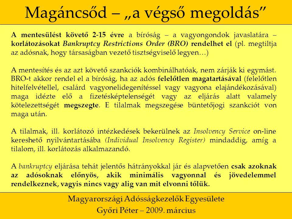 """17 Magáncsőd – """"a végső megoldás Magyarországi Adósságkezelők Egyesülete Győri Péter – 2009."""