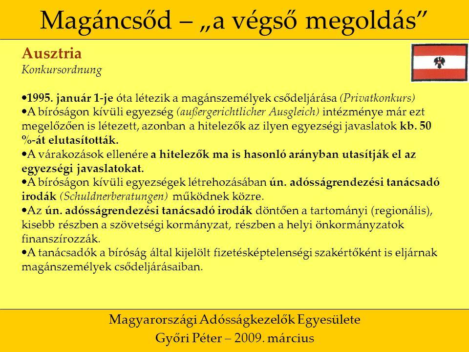 """18 Magáncsőd – """"a végső megoldás Magyarországi Adósságkezelők Egyesülete Győri Péter – 2009."""