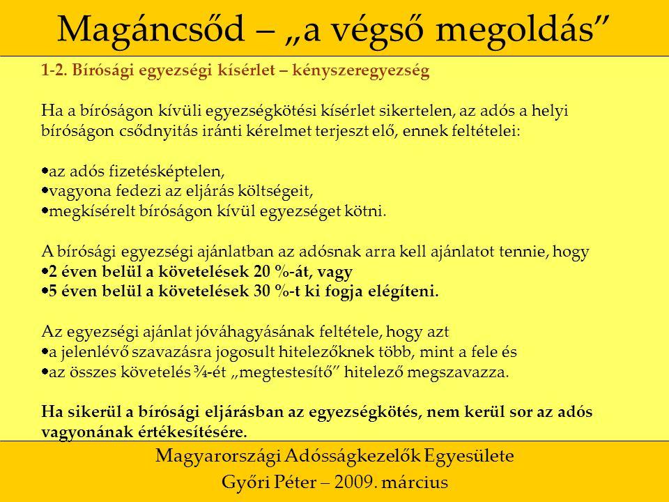 """20 Magáncsőd – """"a végső megoldás Magyarországi Adósságkezelők Egyesülete Győri Péter – 2009."""