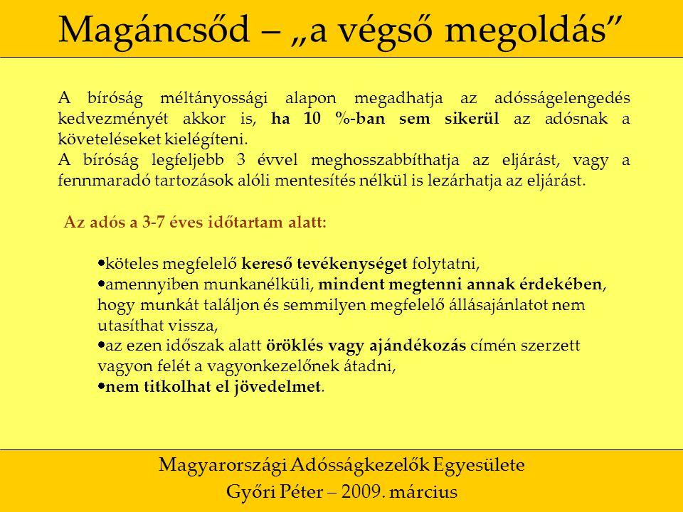 """23 Magáncsőd – """"a végső megoldás Magyarországi Adósságkezelők Egyesülete Győri Péter – 2009."""
