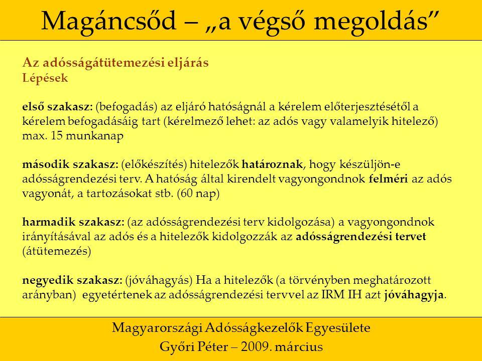 """34 Magáncsőd – """"a végső megoldás Magyarországi Adósságkezelők Egyesülete Győri Péter – 2009."""