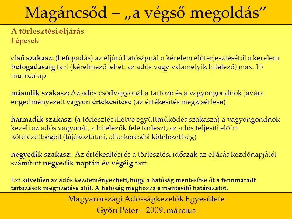 """35 Magáncsőd – """"a végső megoldás Magyarországi Adósságkezelők Egyesülete Győri Péter – 2009."""